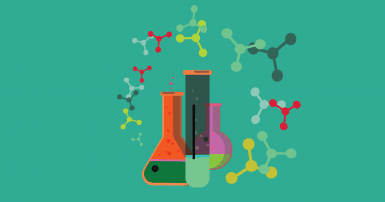 colourful beakers and nanoparticles