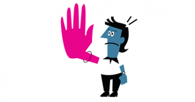 Cartoon of frowning person with blue skin holding up one exaggerated big pink hand in a stop motion