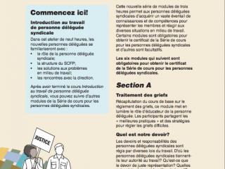 Dépliant: La série de cours pour les délégués syndicaux