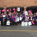 The Executive Board of CUPE Ontario paused its meeting today to join striking workers at the Spadina Road offices of the Canadian Hearing Society, one of 24 Canadian Hearing Society offices across Ontario that saw picket lines go up Monday morning.